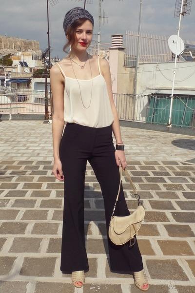 black on line pants - dark brown H&M scarf - tan christian dior bag