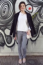white H&M sweater - black Thesis coat - heather gray Tally Weijl jeans