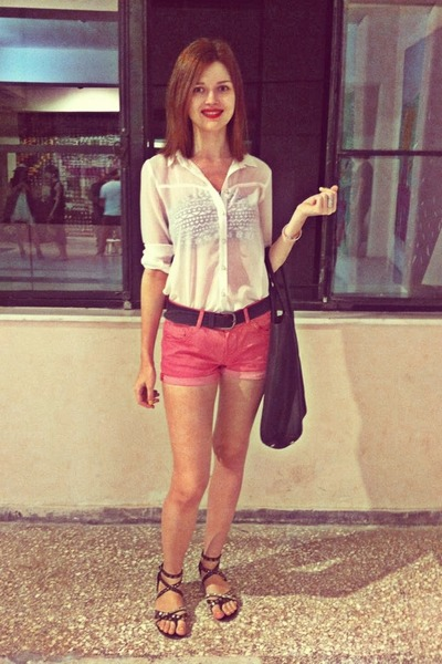 black H&M bag - white pull&bear shirt - hot pink H&M shorts - black Bershka belt
