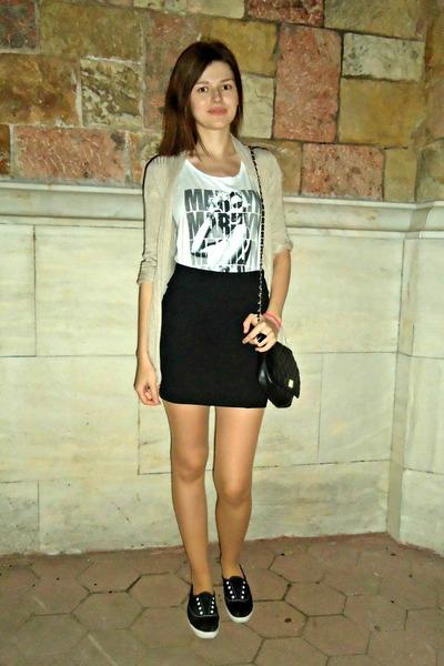 black Tally Weijl bag - black Stradivairus skirt - black Keds sneakers
