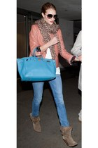 aquamarine  bag - light brown  boots - salmon  jacket