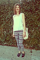 black Stradivairus leggings - off white Valentina bag - black Keds sneakers