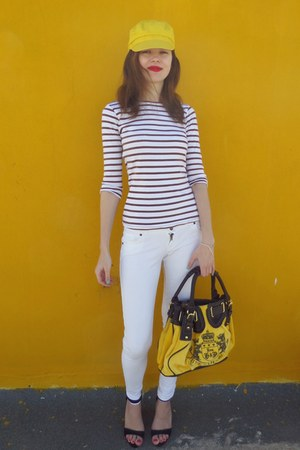 white Zara blouse - yellow Juicy Couture bag - black Bershka heels