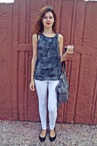 heather gray Bershka bag - white Bershka pants - charcoal gray Stradivairus top