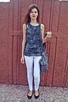 heather gray Bershka bag - white Bershka pants - charcoal gray Stradivairus top