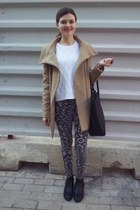 black Tally Weijl boots - tan Bershka coat - cream H&M sweater