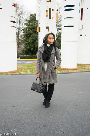 Guess coat - JustFab shoes - Target scarf - brahmin purse