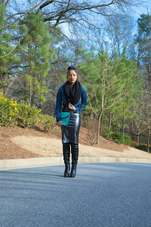 jean Target shirt - Luichiny shoes - Target scarf - faux leather arryles skirt