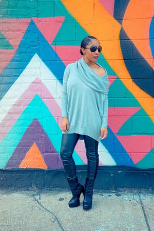 JustFab boots - Victorias Secret sweater - H&M leggings