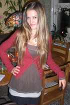 brown babydoll Abercrombie&Fitch sweater - black with dots H&M skirt