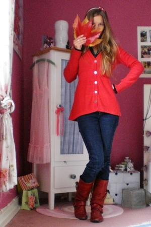 red cotton babydoll Esprit jacket - red on-line shoes