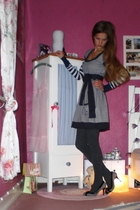 blue abercrombie and fitch sweater - blue DeFry 01 dress - gray H&M tights - sil