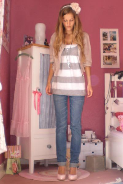 pink high heels shoes - blue blue washed Levis jeans