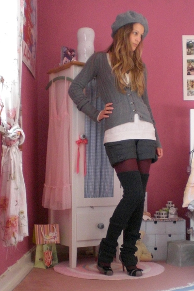 gray wool H&M stockings - gray cardigan hollister jacket