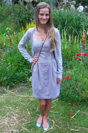 gray dresscorate dress - gray H&M jacket - gray Pretty Ballerinas shoes -  acces