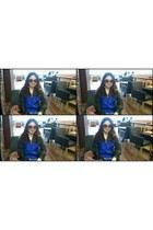 blue windbreaker nike jacket - dark brown bvlgari sunglasses