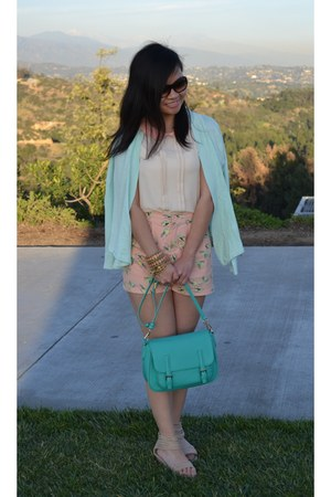 mint green Urban Expressions bag - green birds Forever 21 shorts