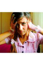 pink Ebay blouse - pink DIY accessories