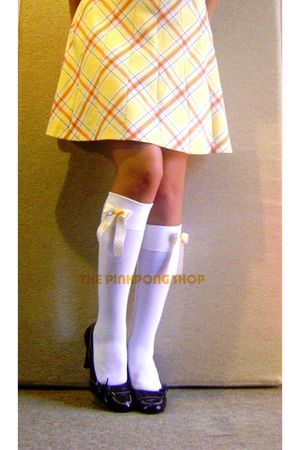 white DIY socks - yellow vintage skirt