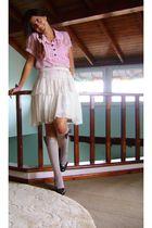 pink Ebay blouse - beige Mango skirt - beige wwwpinkpongetsycom socks