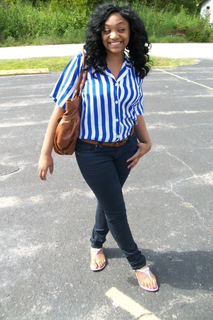 thrifted blouse - Urban Outfitters jeans - thrifted purse - vintage belt - Expre