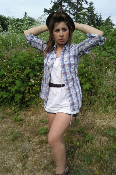 shirt - blouse - shorts - belt - hat