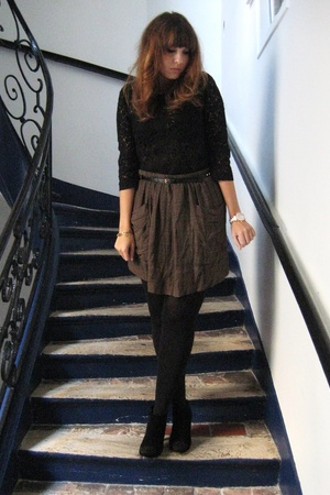 lace H&M top - low boots Minelli shoes - Isabel Marant skirt - H&M belt