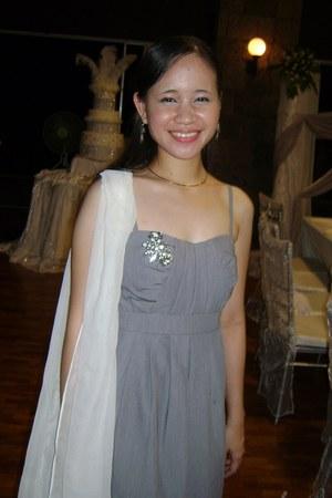 silver Petit Monde dress - white scarf - silver necklace - silver earrings - sil
