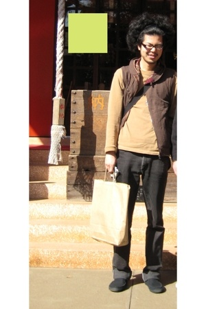 Levis pants - Muji shoes - Old Navy sweater - vintage vest - the north face purs