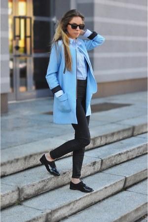 sky blue baby blue Sheinside coat - black F&F flats - black Zara pants
