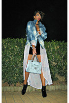blue DIY jacket - periwinkle chiffon outerwear jacket