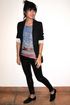 Zara blazer - Bershka t-shirt - forever 21 leggings - asos shoes