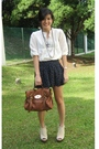 White-blouse-black-miss-selfridges-shorts-beige-jeffrey-campbell-shoes-bro