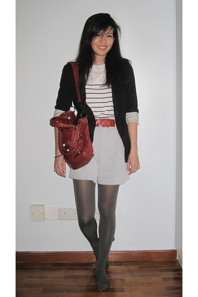 black Zara blazer - white Uniqlo top - silver Uniqlo shorts - red balenciaga acc