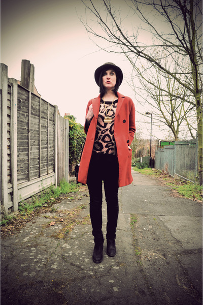 burnt orange warehouse coat - black ankle boots Topshop boots