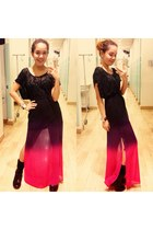 hot pink ombre maxi Forever 21 skirt