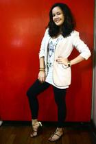white Topshop top - beige Mandarin Oriental blazer - black leggings - gold Charl