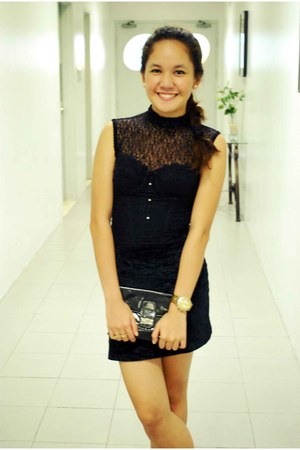 black clutch bag - black lace top intimate - black velvet skirt
