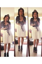 gray fedora People are People hat - black top - white Forever 21 skirt - black P