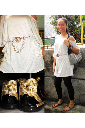 black leggings - black flat Charles & Keith shoes - white Topshop dress