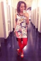 black comic Forever 21 dress - red Capezio tights