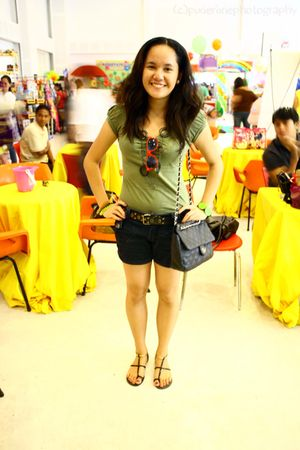 green shirt - blue shorts - black belt - black Chanel purse - gold Charles & Kei
