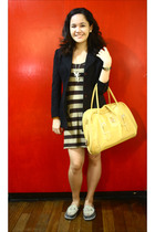 brown dress - black blazer - gray sanuk shoes - yellow Estee Lauder accessories