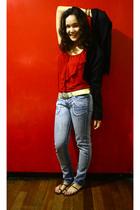red Naf Naf blouse - blue Herbench jeans - black Charles and Keith shoes - black