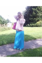 teal new look heels - light pink sheer unknown brand blouse