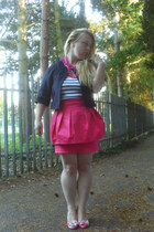 black cropped Topshop jacket - bubble gum Custom made in Spain pumps - hot pink