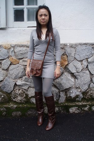 brown Topshop bag - heather gray Zara tights - heather gray Pull and Bear sweate