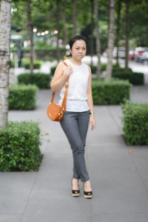 tan bag Bimba & Lola bag - skinny pants Topshop pants - H&M blouse
