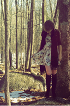 pink H&M tights - white Topshop dress - black Forever 21 socks - black H&M jacke