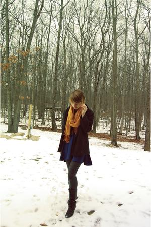 blue American Apparel dress - gray vintage blazer - black Aldo boots - gray Targ